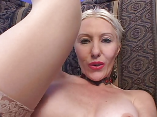 Sexy granny fucked by two guys