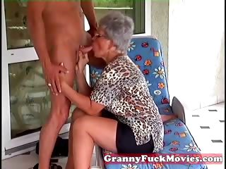 Granny Eve sucking hard young dick
