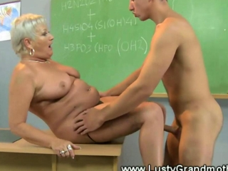 Granny teacher sucking and rimming student
