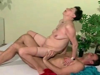 Hairy grandma fucks a horny guy real hard