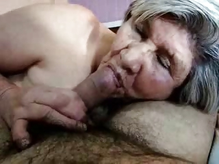 Horny granny sucking cock. Great facial.  Amateur