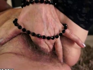 Needy Grandma plays with her old pussy