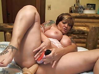 Horny busty 52 year old mature toying pussy & ass on webcam