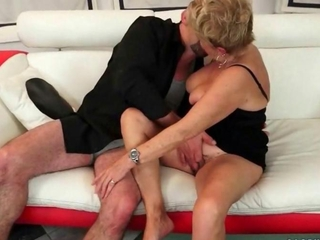 Naughty granny getting fucked on the couch
