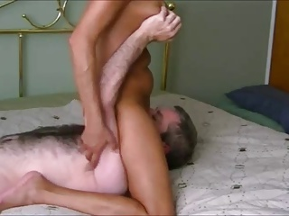 Mature granny with big fake tits gets fucked and creampied