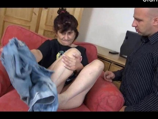 young man have blowjob by horny granny